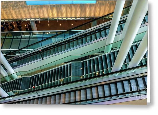 Escalators And Columns In Munich Airport Greeting Card