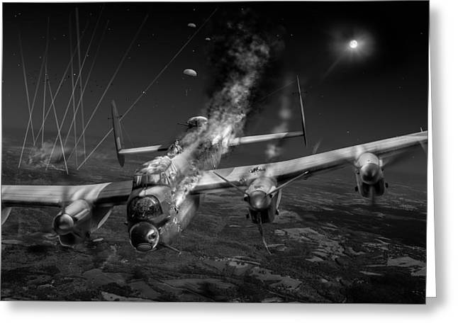 Escape At Mailly Black And White Version Greeting Card by Gary Eason