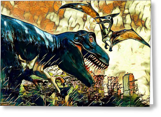 Escape From Jurassic Park Greeting Card by Pennie  McCracken