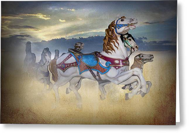 Escape Of The Carousel Horses Greeting Card by Brian Wallace