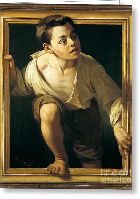 Escaping Criticism Greeting Card by Pere Borrell Del Caso