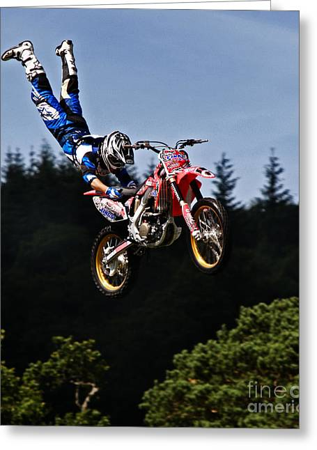 Escaping Motorbike Greeting Card by Angel  Tarantella
