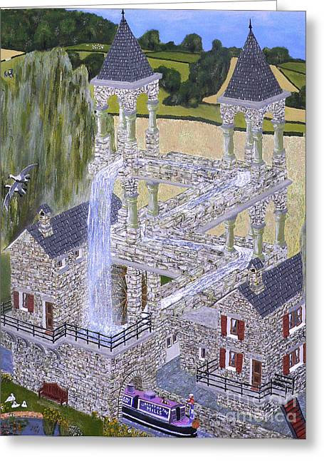 Greeting Card featuring the painting Escher's Mill Landscaped And Painted By Eric Kempson by Eric Kempson