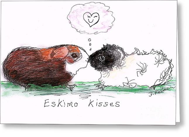 Greeting Card featuring the drawing Eskimo Kisses by Denise Fulmer