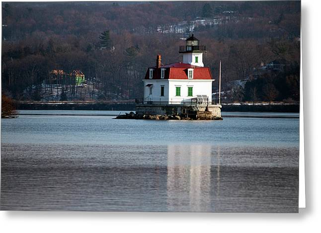 Esopus Lighthouse In December Greeting Card by Jeff Severson