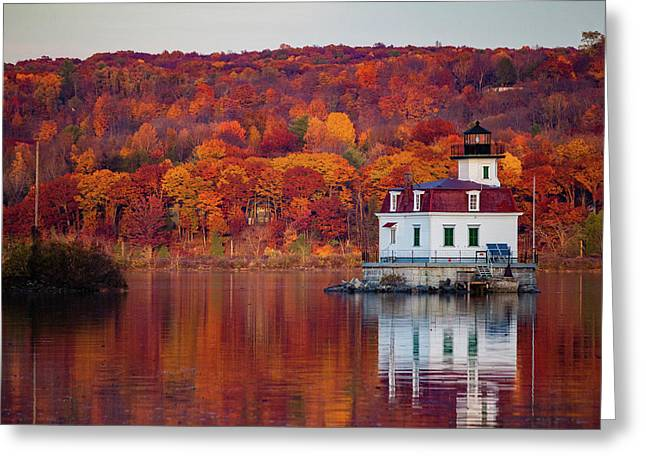 Esopus Lighthouse In Late Fall #1 Greeting Card by Jeff Severson