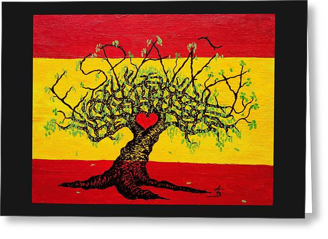 Greeting Card featuring the drawing Espana Love Tree by Aaron Bombalicki