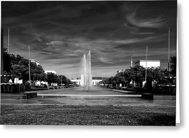 Esplanade And Fountain - Dallas Fair Park Greeting Card