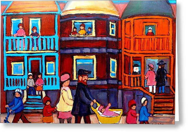 Lubavitcher Greeting Cards - Esplanade Street Sabbath Walk Greeting Card by Carole Spandau