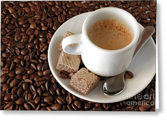 Roasted Greeting Cards - Espresso Coffee Greeting Card by Carlos Caetano