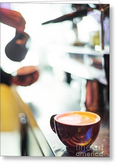 Espresso Expresso Italian Coffee Cup With Machine  Greeting Card by Jacek Malipan