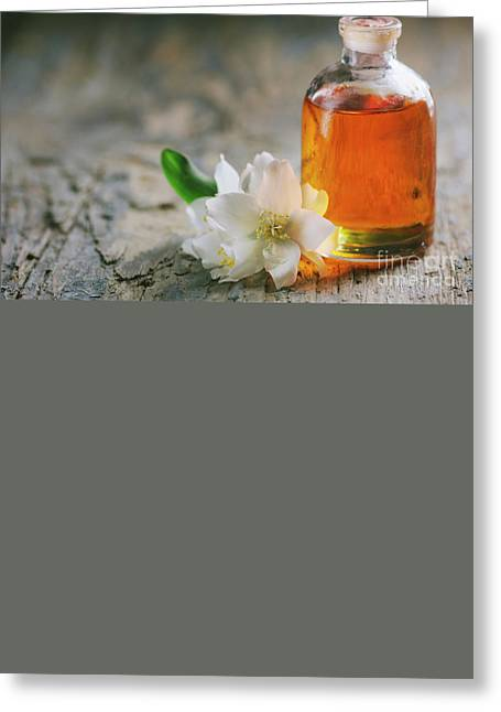 Essential Oil With Jasmine Flower Greeting Card