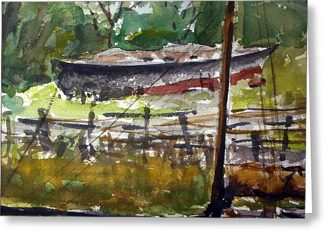 Essex Boatyard Greeting Card by Chris Coyne