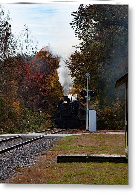 Essex Steam Train Coming Into Fall Colors Greeting Card by Jeff Folger