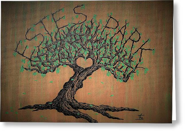 Greeting Card featuring the drawing Estes Park Love Tree by Aaron Bombalicki