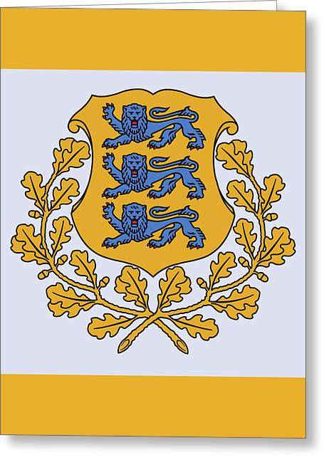 Greeting Card featuring the drawing Estonia Coat Of Arms by Movie Poster Prints