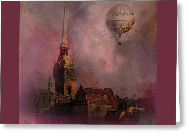 Greeting Card featuring the digital art Stockholm Church With Flying Balloon by Jeff Burgess