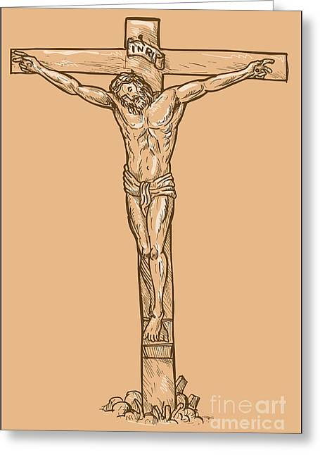 esus Christ hanging on the cross Greeting Card by Aloysius Patrimonio
