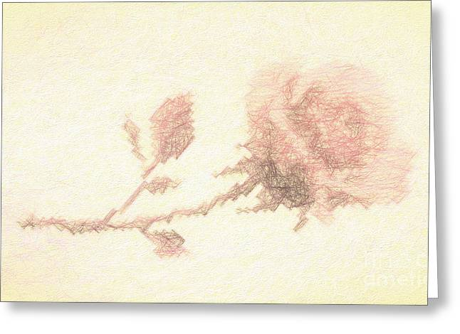 Greeting Card featuring the photograph Etched Red Rose by Linda Phelps
