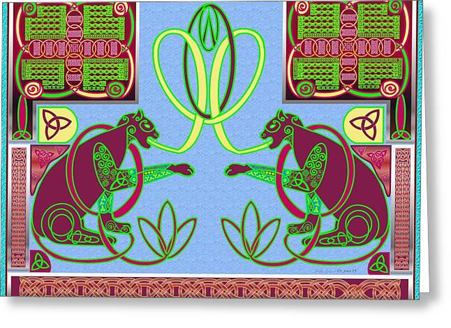 Eternal Celtic Cats Greeting Card by Mike Sexton