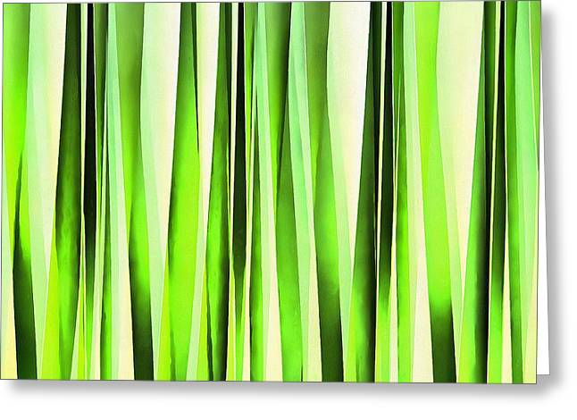 Eternal Evergreen Stripy Pattern Greeting Card by Tracey Harrington-Simpson