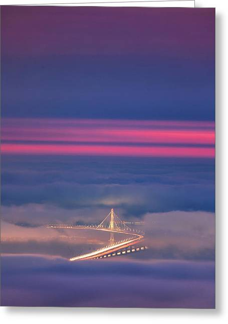 Ethereal Bridge, Oakland Bay Bridge Greeting Card by Vincent James