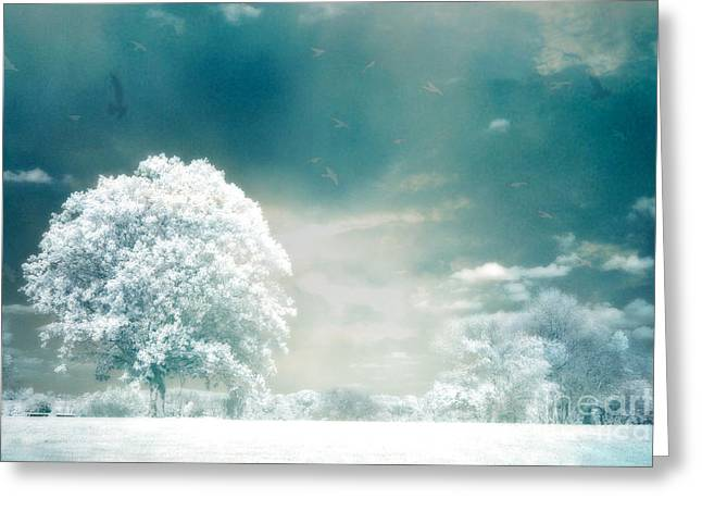 Ethereal Surreal Dreamy Nature Trees Landscape - Aqua Teal Mint Infrared Nature  Greeting Card by Kathy Fornal