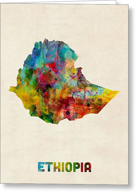 Ethiopia Watercolor Map Greeting Card by Michael Tompsett