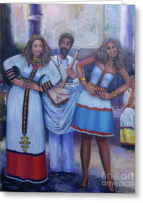 Ethiopian Ladies Shoulder Dancing Greeting Card