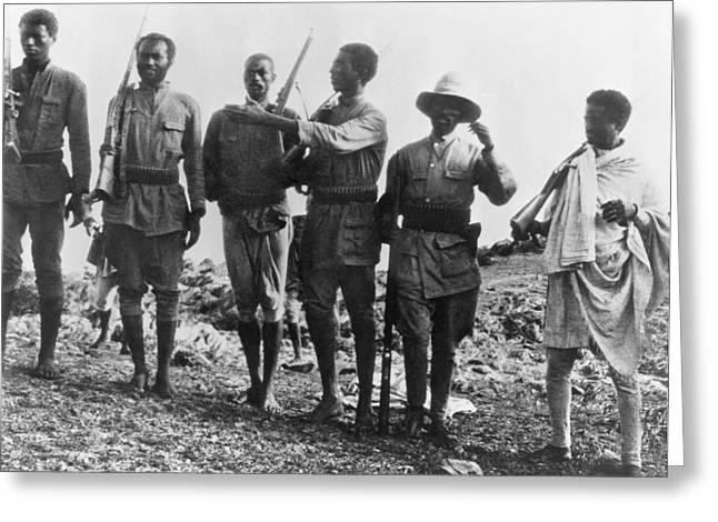 Ethiopians Soldiers Drilling Greeting Card by Underwood Archives