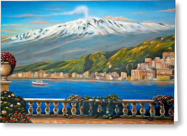Italian Art Greeting Cards - Etna SICILY Greeting Card by Italian Art