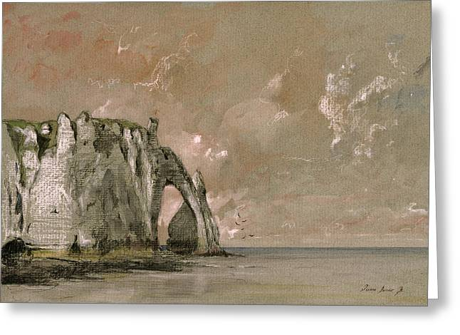 Etretat France Greeting Card by Juan  Bosco
