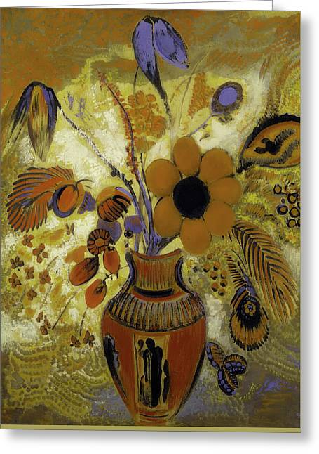 Greeting Card featuring the painting Etrusian Vase With Flowers by Odilon Redon