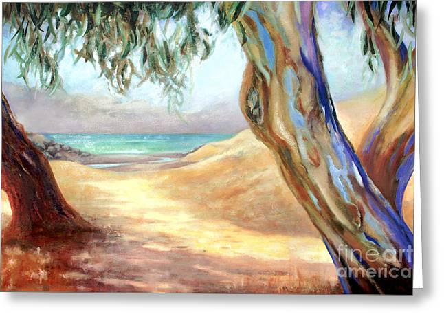 Greeting Card featuring the painting Eucalyptus Beach Trail by Michael Rock