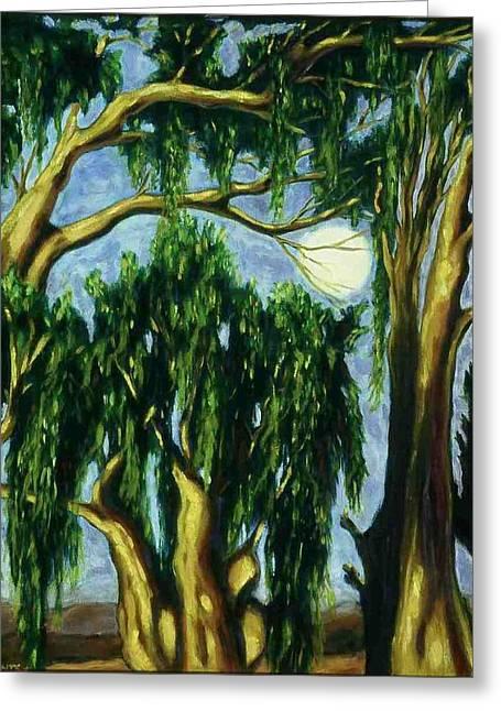 Eucalyptus Moon Greeting Card by Helen O Hara