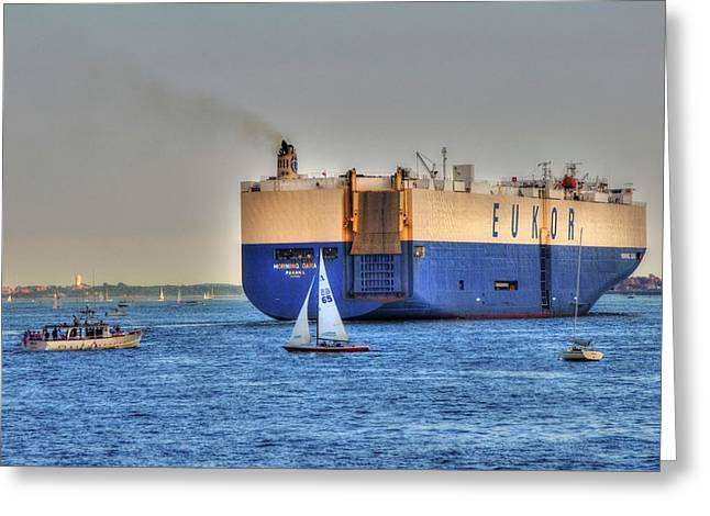 Greeting Card featuring the photograph Eukor Car Carrier Ship - Boston Harbor by Joann Vitali