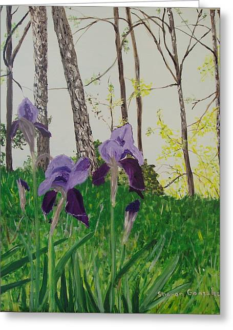 Eureka Springs Irises Greeting Card by Sharon  De Vore