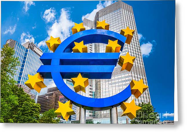 Euro Sign At European Central Bank In Frankfurt, Germany Greeting Card