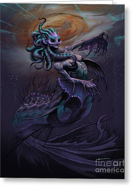 Greeting Card featuring the digital art Europa Mermaid by Stanley Morrison