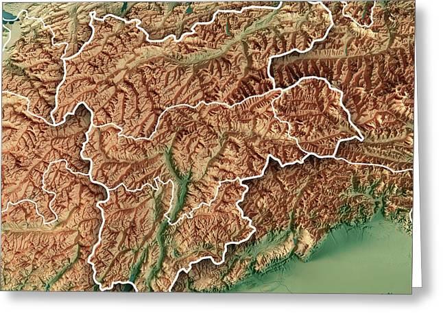 Europaregion Tirol-alto Adige-trentino 3d Render Topographic Map  Greeting Card by Frank Ramspott