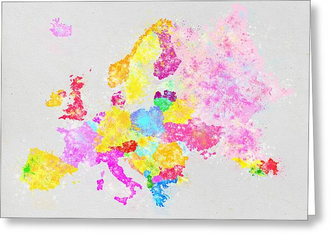Colorful Pastels Greeting Cards - Europe map Greeting Card by Setsiri Silapasuwanchai