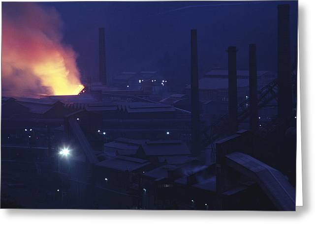 Europe Steel Plant In Europe, Dusk Greeting Card by Keenpress