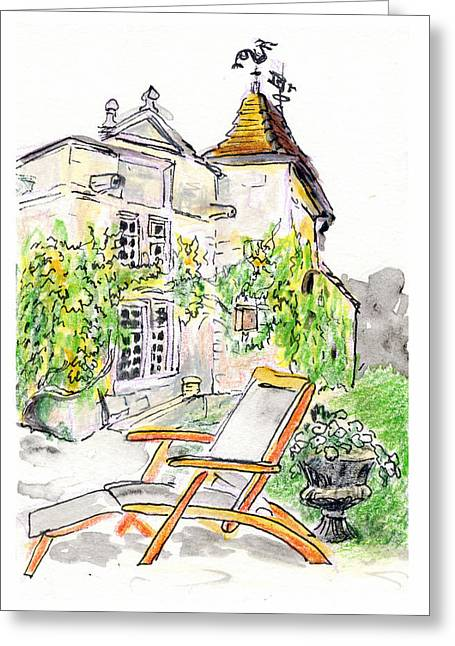 European Chateau Lounge Chair Greeting Card