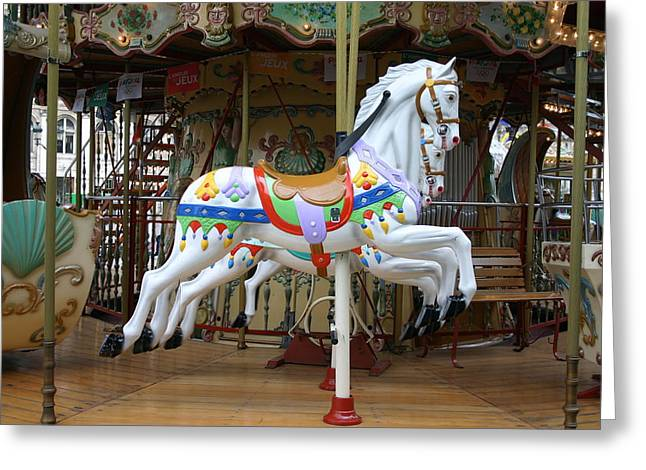 European Merry Go Round Greeting Card by Dennis Curry