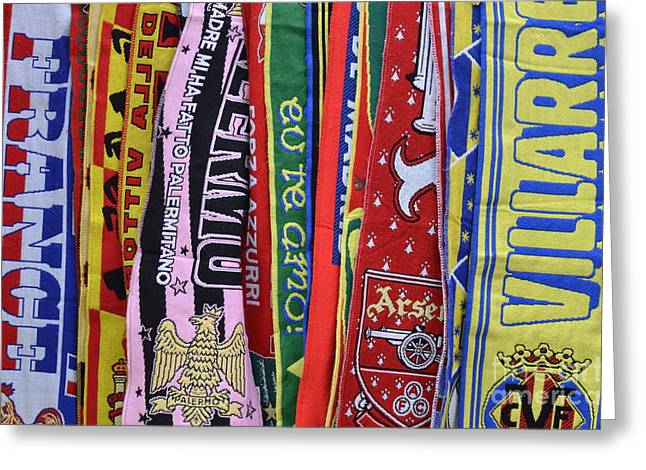 European Soccer Teams Scarfs For Sale In Store Greeting Card by Sami Sarkis