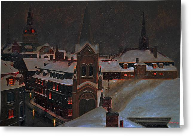 European Winter's Night Greeting Card by Ken Figurski