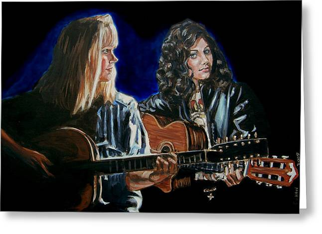 Greeting Card featuring the painting Eva Cassidy And Katie Melua by Bryan Bustard