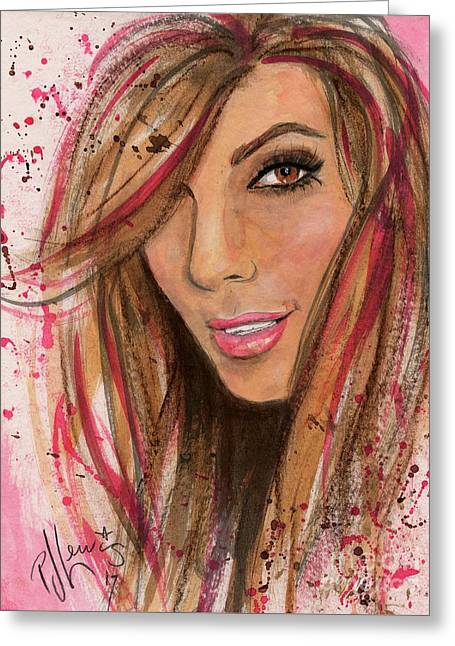 Eva Longoria Greeting Card by P J Lewis