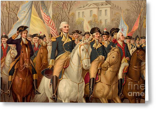 Evacuation Day And Washington's Triumphal Entry In New York City Greeting Card by American School