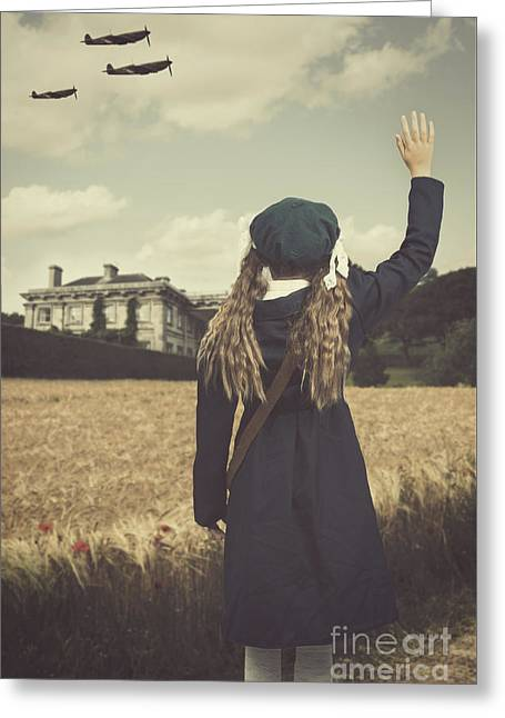 Evacuee Girl Waving Greeting Card